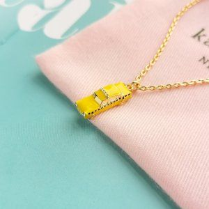 Gold Taxi! Yellow Cab Pendant necklace + dust bag